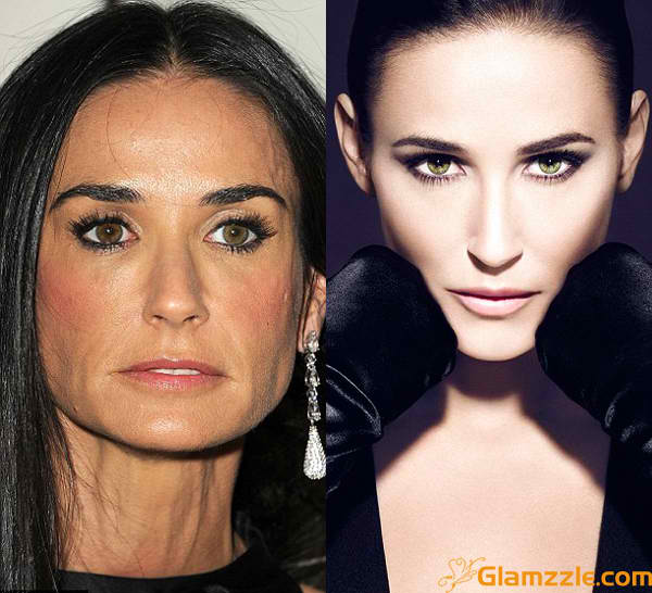 1 demi-moore-before-and-after-photoshop-editing CELEBRITIES BEFORE AND AFTER PHOTOSHOP  hollywood actress model top best famous popular