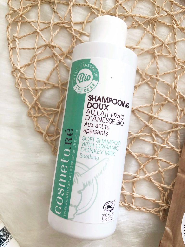 La shampooing doux au lait frais d'ânesse bio de la marque cosméto.ré